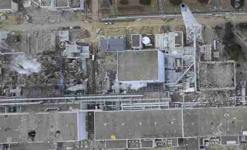 An aerial shot of the post-accident Fukushima Daiichi plant.