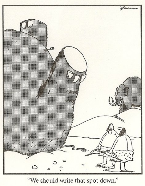 Thanks to Gary Larson this is how I always picture cavemen.