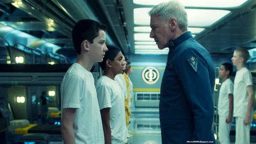 Asa Butterfield and Harrison Ford