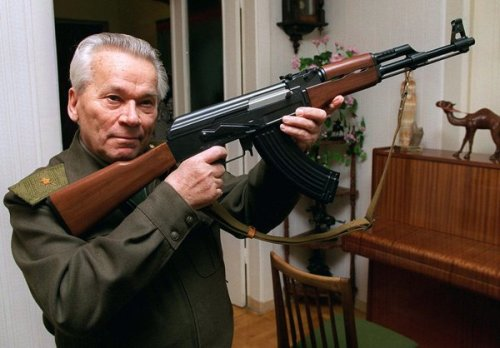 Kalashnikov with his creation (kind of).
