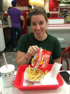 Tracy's first In 'N Out burger. We were going to take a picture of it, but it didn't last that long.