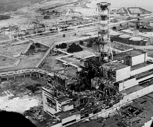 Chernobyl's #4 reactor after the steam explosion and meltdown.