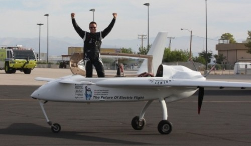 Chip Yates with his electric plane.