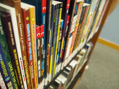 Graphic Novels line the shelves of the Shreve Memorial Library in Los Angeles