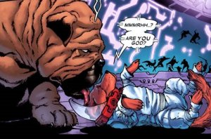 Cosmo encounters Lockjaw of the Inhumans.