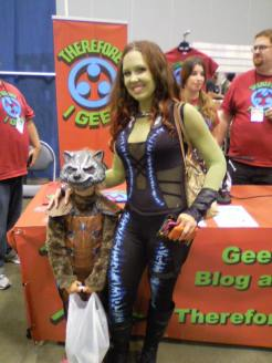 An amazing Gamora and her son as Rocket Raccoon!