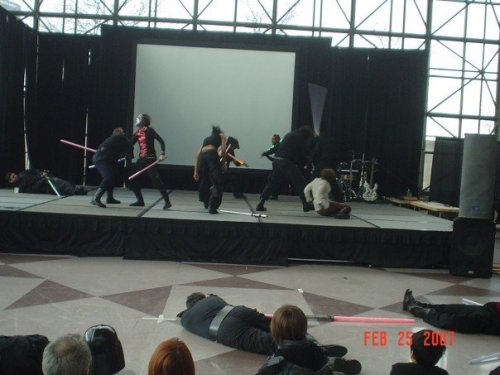 The Manifesto Stage, during a lightsaber fight.