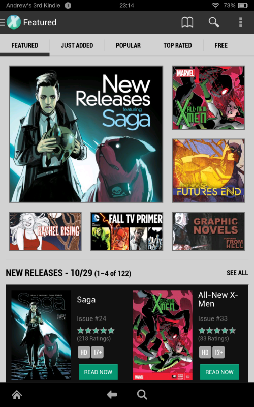 Featured screen of Kindle Fire app.