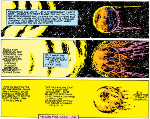 An excerpt from Uncanny X-Men 135 where Phoenix consumes a star.