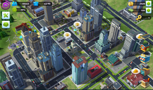 City population, player level, and percentage of happy citizens is in the top left corner, building menus and currency levels are on the right.