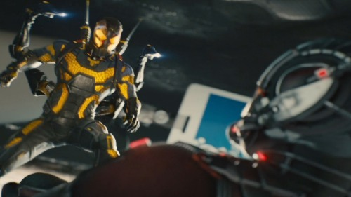 Ant-Man and Yellowjacket fighting inside a briefcase.